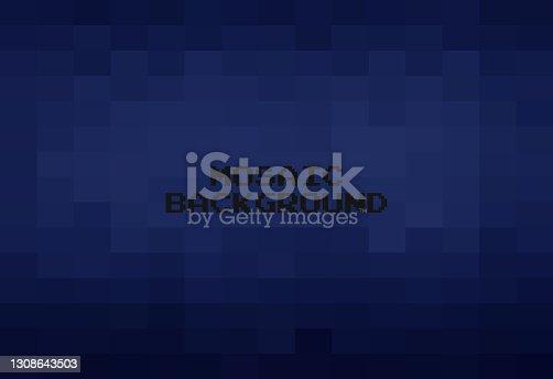 istock Abstract Dark Blue geometric Background, Creative Design Templates. Pixel art Grid Mosaic, 8 bit vector background. 1308643503