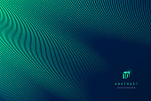 Abstract dark blue mesh gradient with glowing green curve lines pattern textured background. Modern and minimal template with copy space. Vector illustration