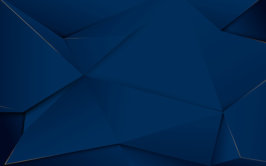 Abstract dark blue polygons and gold lines. Luxury background