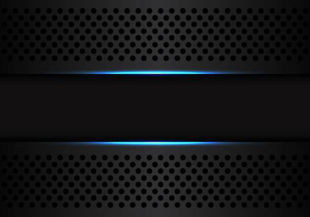 abstrakte dunkel graue banner auf schwarzen kreis mesh mit blauem lichtdesign moderne futuristische technologie hintergrund vektor-illustration. - edelrost stock-grafiken, -clipart, -cartoons und -symbole