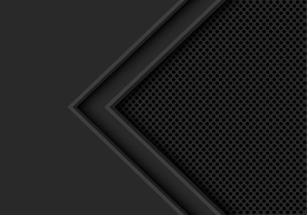 abstrakte dunklen grauen pfeilrichtung mit kreis mesh leerzeichen design moderne futuristische hintergrund textur-vektor-illustration. - edelrost stock-grafiken, -clipart, -cartoons und -symbole
