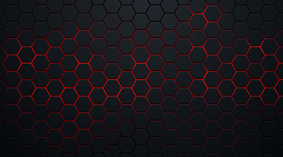 Abstract dark hexagon pattern on red neon background technology style. Modern futuristic geometric shape web banner design. You can use for cover template, poster, flyer, print ad. Vector illustration