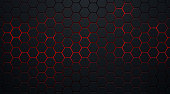 istock Abstract dark hexagon pattern on red neon background technology style. Modern futuristic geometric shape web banner design. You can use for cover template, poster, flyer, print ad. Vector illustration 1290801796