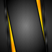 Abstract dark corporate yellow and black technology background. Vector illustration