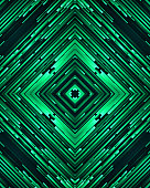 This vector illustration features abstract vector graphic art background. It is a combination of green beams contrast tone and kaleidoscopic patterns incorporating bright colors and geometric shapes. The image has a monochrome green tone.