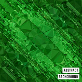 This vector illustration features abstract vector graphic art background. It is a combination of triangular patterns incorporating bright colors and geometric shapes. The image has a monochrome green tone.