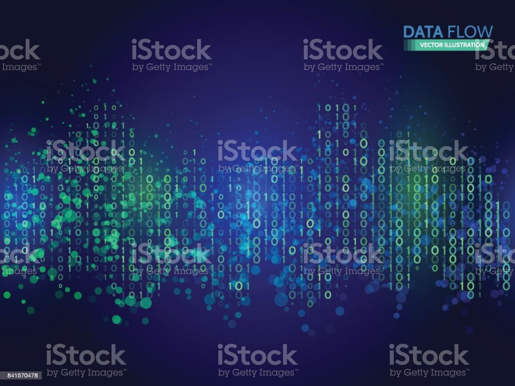 Abstract data flow background with binary code. Dynamic waves technology concept. vector art illustration