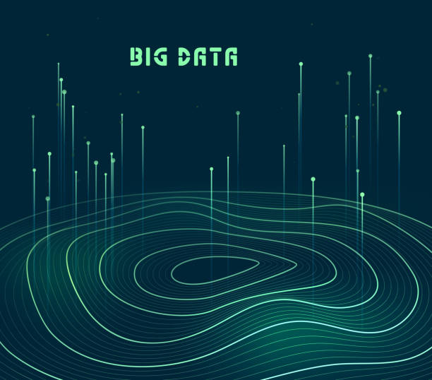 Abstract data transmission visualization vector art illustration