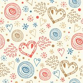 Abstract decorative seamless background with fly hearts