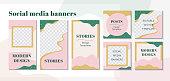 Abstract design backgrounds for social media apps. Set of editable banners templates. Modern story mockup for blog or shop. Vector illustration