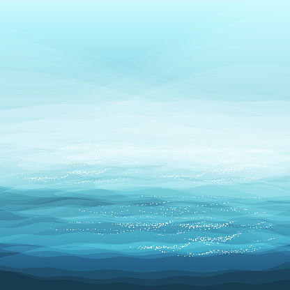 Abstract Design Creativity Background Of Blue Sea Waves Vector Illustration Stock Illustration - Download Image Now