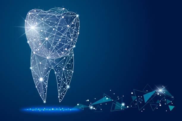 bildbanksillustrationer, clip art samt tecknat material och ikoner med abstrakt design dental tandvårdsklinik, logotypen låg poly trådram. vector abstrakt polygonal bild mosar linje och punkt. - tandblekning