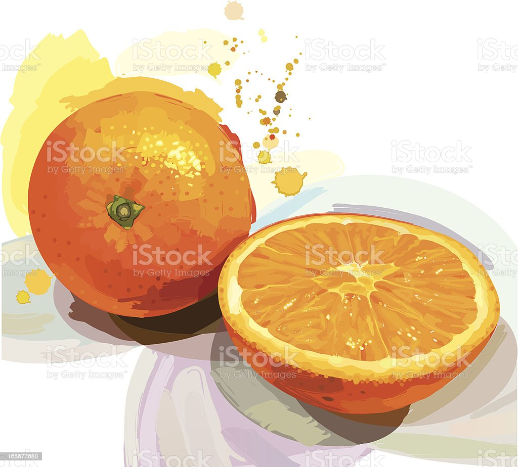 Abstract design of an orange and an orange cut in half royalty-free stock vector art