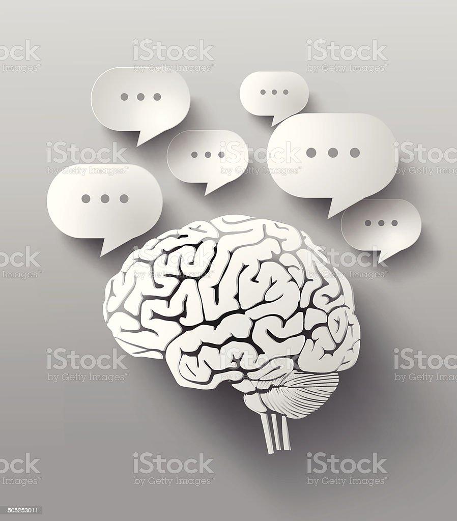 Abstract Diseño De Burbujas De Discurso Y Cerebro - Arte vectorial ...