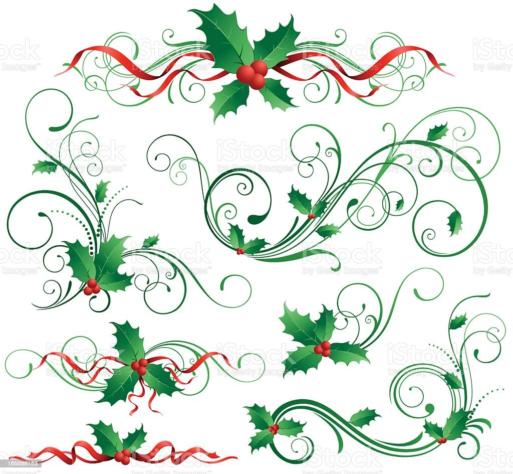 Abstract design of holly leaves royalty-free stock vector art
