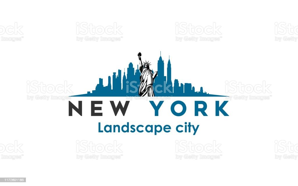 Abstract Design Of New York Logo With Statue Liberty And City New York Modern City Landscape Skyline Logo Design Inspiration Stock Illustration Download Image Now Istock