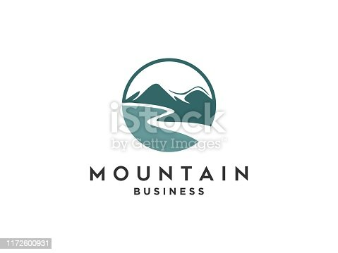 Abstract design of outdoor logo with Mountain and nature. Mountain and outdoor adventure logo design inspiration