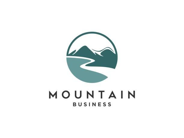 ilustrações, clipart, desenhos animados e ícones de projeto abstrato do logotipo ao ar livre com montanha e natureza. montanha e aventura ao ar livre logo design inspiração - exterior