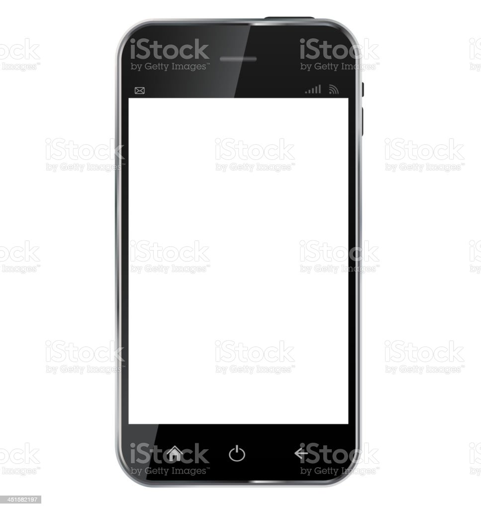 Abstract design  realistic mobile phone with blank screen isolat royalty-free stock vector art
