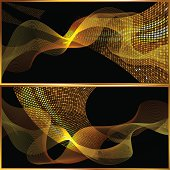 Abstract design with gold mosaic pattern and bright wave on the black background. Files include: Illustrator CS5, Illustrator 10.0 eps, SVG 1.1, pdf 1.5, JPEG 300dpi, organized by layers, easy to edit.