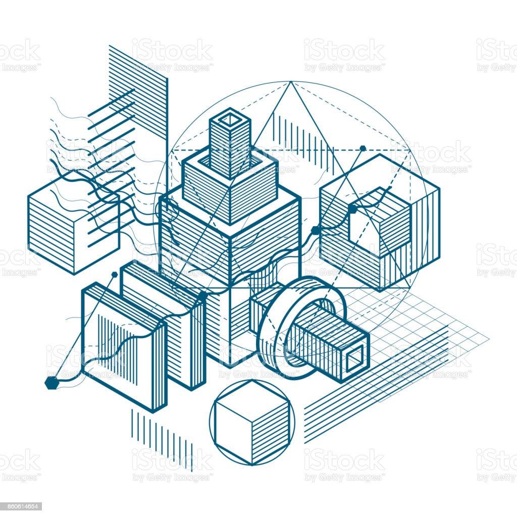 Diseño abstracto con formas lineales de malla 3d y figuras, vector fondo isométrica. Cubos, hexágonos, cuadrados, rectángulos y diferentes elementos abstractos. - ilustración de arte vectorial