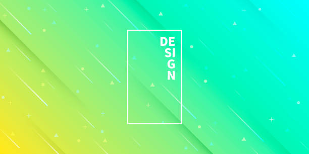Abstract design with geometric shapes - Trendy Green Gradient vector art illustration
