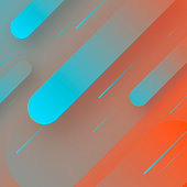 Futuristic background, looking like a meteor shower. Modern and trendy abstract background with geometric shapes. This illustration can be used for your design, with space for your text (colors used: Blue, Pink, Orange, Red). Vector Illustration (EPS10, well layered and grouped), format (1:1). Easy to edit, manipulate, resize or colorize.