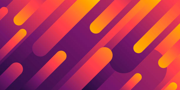 Abstract design with geometric shapes - Trendy Orange Gradient vector art illustration