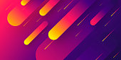 Futuristic background, looking like a meteor shower. Modern and trendy abstract background with geometric shapes. This illustration can be used for your design, with space for your text (colors used: Yellow, Orange, Red, Pink, Purple, Blue, Black). Vector Illustration (EPS10, well layered and grouped), wide format (2:1). Easy to edit, manipulate, resize or colorize.