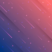 Futuristic background, looking like a meteor shower. Modern and trendy abstract background with geometric shapes. This illustration can be used for your design, with space for your text (colors used: Red, Orange, Pink, Purple, Blue). Vector Illustration (EPS10, well layered and grouped), format (1:1). Easy to edit, manipulate, resize or colorize.