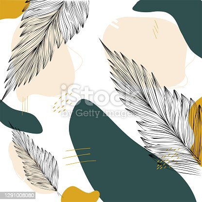 istock Abstract design with leaves and hand-drawn background lines in a trendy color. Modern art for posters, social networks, stories. Vector illustration in a fashionable style, hand-painted frames. 1291008080