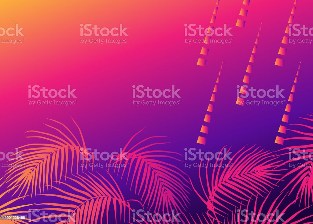 Abstract Design With Palm Leaves Tropical Vibes Background