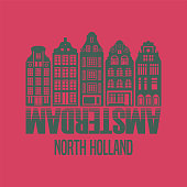 Abstract design with words Amsterdam, North Holland inside, vector illustration