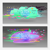 Abstract Designs in Glitch Style. Trendy Background Templates with Fluid Shapes for Posters, Covers, Banners, Flyers, Placards. Vector illustration