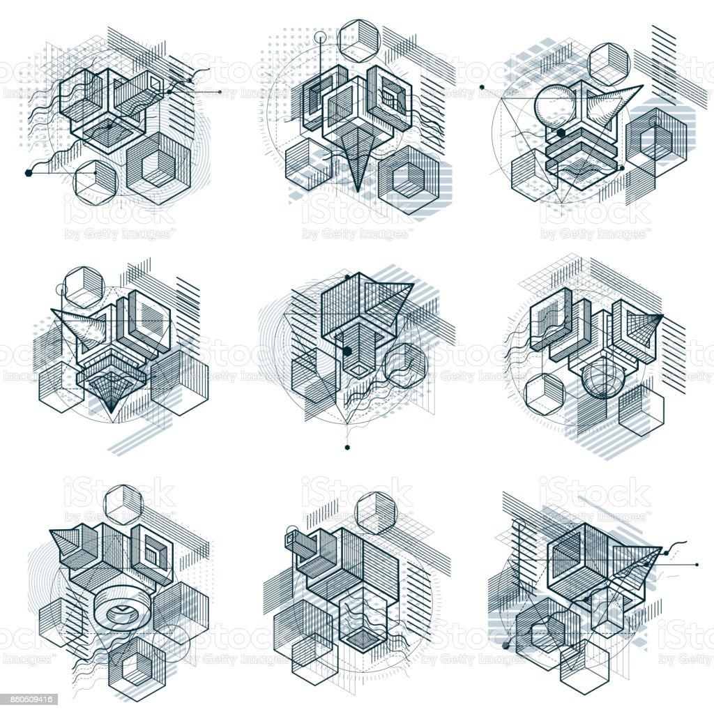 Diseños con formas lineales de malla 3d y figuras, vector isométrica fondos abstractos. Cubos, hexágonos, cuadrados, rectángulos y diferentes elementos abstractos. Colección de vector. - ilustración de arte vectorial