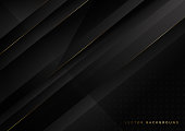 Abstract diagonal black background with golden lines. Luxury style. Vector illustration