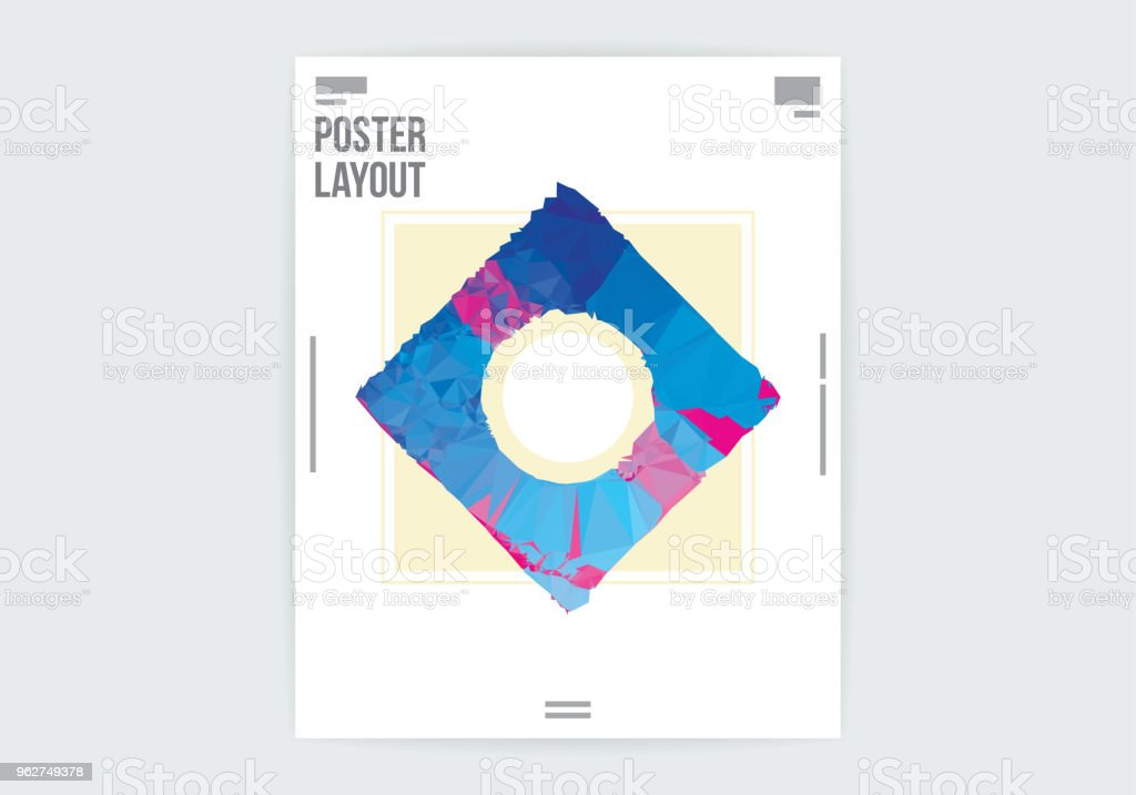 Modelo de Layout de cartaz Resumo diamante quadrado Design gráfico - Vetor de Abstrato royalty-free