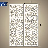 Cutout silhouette panel. Fretwork oriental background for paper cutting.