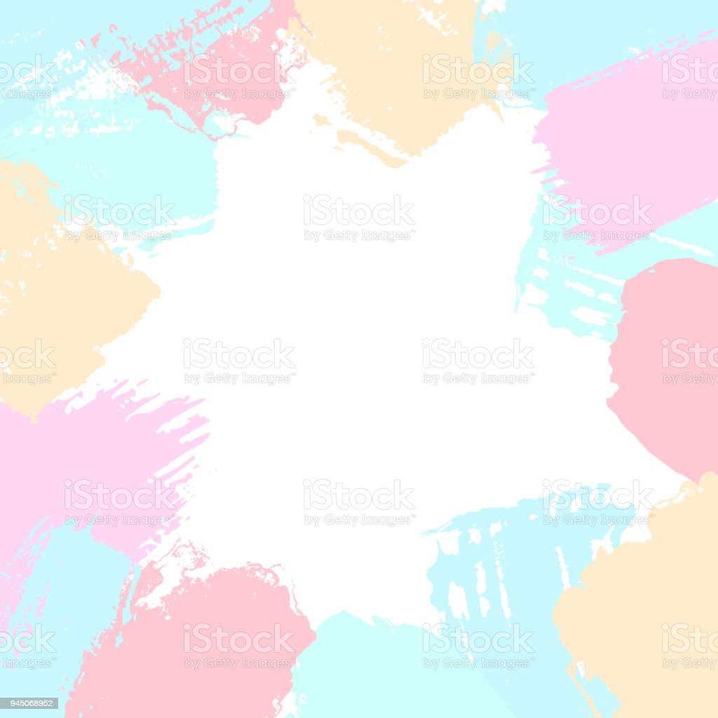 f48587ce381e Abstract different brush strokes shapes in soft pastel colors border frame  texture background - Illustration .
