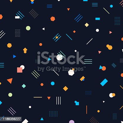 Abstract different geometric shapes pattern circles, triangles, lines, squares, hexagons bright and colorful color on dark background. Trendy s style. Retro 80's. Vector illustration