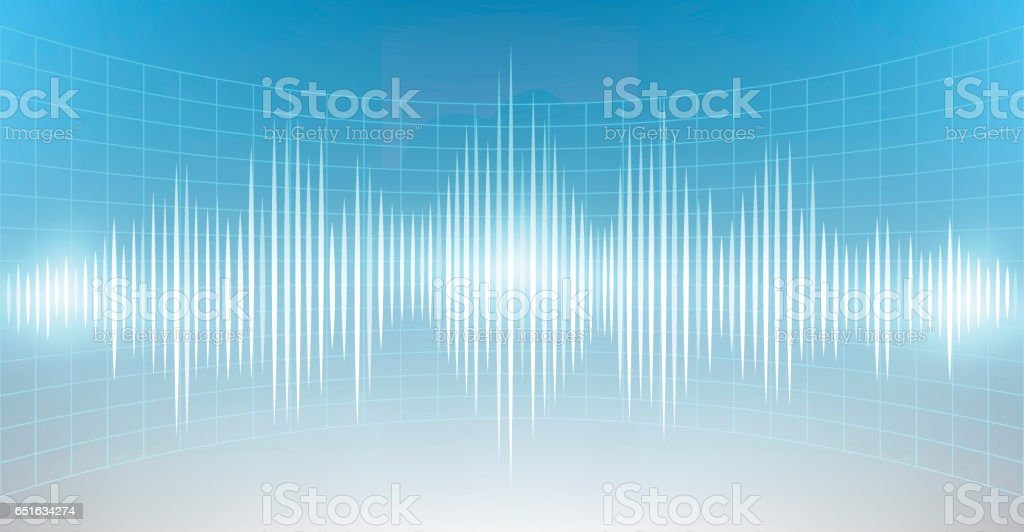 Abstract digital and sound wave background. vector art illustration