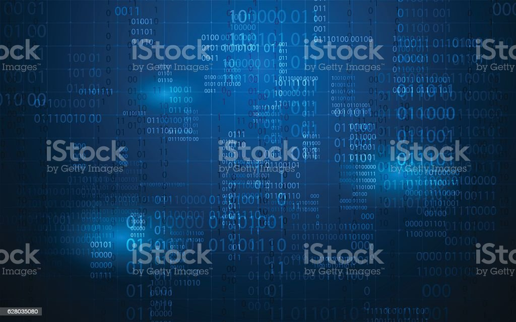 abstract digital binary matrix number technology futuristic concept background vector art illustration