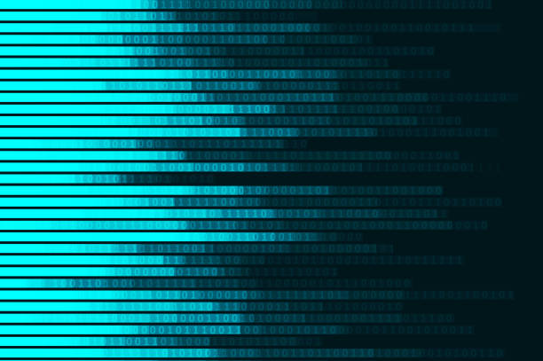 Abstract digital code visualization vector art illustration