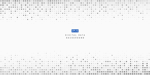 Abstract digital data technology square black and grey pattern pixel background with copy space. Modern futuristic trendy gradient pixel design. Vector illustration