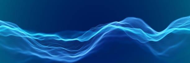 抽象デジタル風景や流れる粒子と波 - 音響点のイラスト素材/クリップアート素材/マンガ素材/アイコン素材