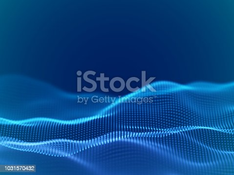 Abstract digital landscape or waves with flowing particles. Big data or technology background. Visualization of sound waves. Virtual reality concept: 3D digital surface. EPS 10 vector illustration.