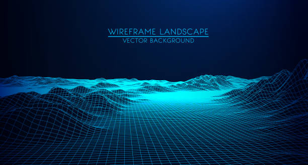 Abstract digital landscape with particles dots and stars on horizon. Wireframe landscape background. Big Data. 3d futuristic vector illustration. 80s Retro Sci-Fi Background Abstract digital landscape with particles dots and stars on horizon. Wireframe landscape background. Big Data. 3d futuristic vector illustration. 80s Retro Sci-Fi Background land feature stock illustrations