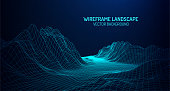 Abstract digital landscape with particles dots and stars on horizon. Wireframe landscape background. Big Data. 3d futuristic vector illustration. 80s Retro Sci-Fi BackgroundAbstract digital landscape with particles dots and stars on horizon. Wireframe landscape background. Big Data. 3d futuristic vector illustration. 80s Retro Sci-Fi Background