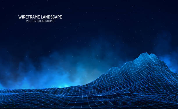 Abstract digital landscape with particles dots and stars on horizon. Wireframe landscape background. Big Data. 3d futuristic vector illustration. 80s Retro Sci-Fi Background Abstract digital landscape with particles dots and stars on horizon. Wireframe landscape background. Big Data. 3d futuristic vector illustration. 80s Retro Sci-Fi Background website wireframe stock illustrations