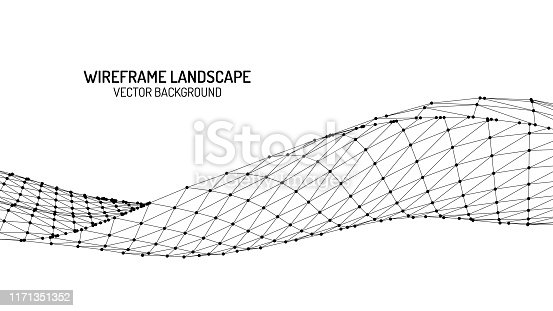 istock Abstract digital landscape with particles dots and stars on horizon. Wireframe landscape background. Big Data. 3d futuristic vector illustration. 80s Retro Sci-Fi Background 1171351352
